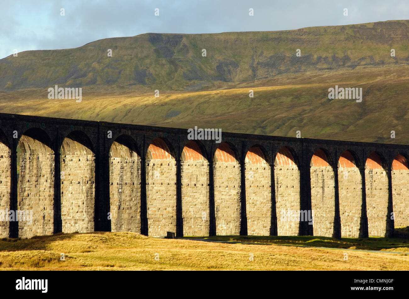 The Ribblehead Viaduct on the Settle-Carlisle railway line in the Yorkshire Dales National Park, England; Whernside - Stock Image