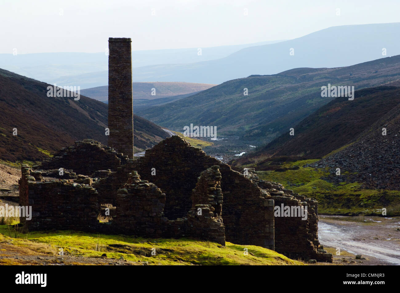 Remains of lead mines at Old Gang above Swaledale, North Yorkshire - Stock Image