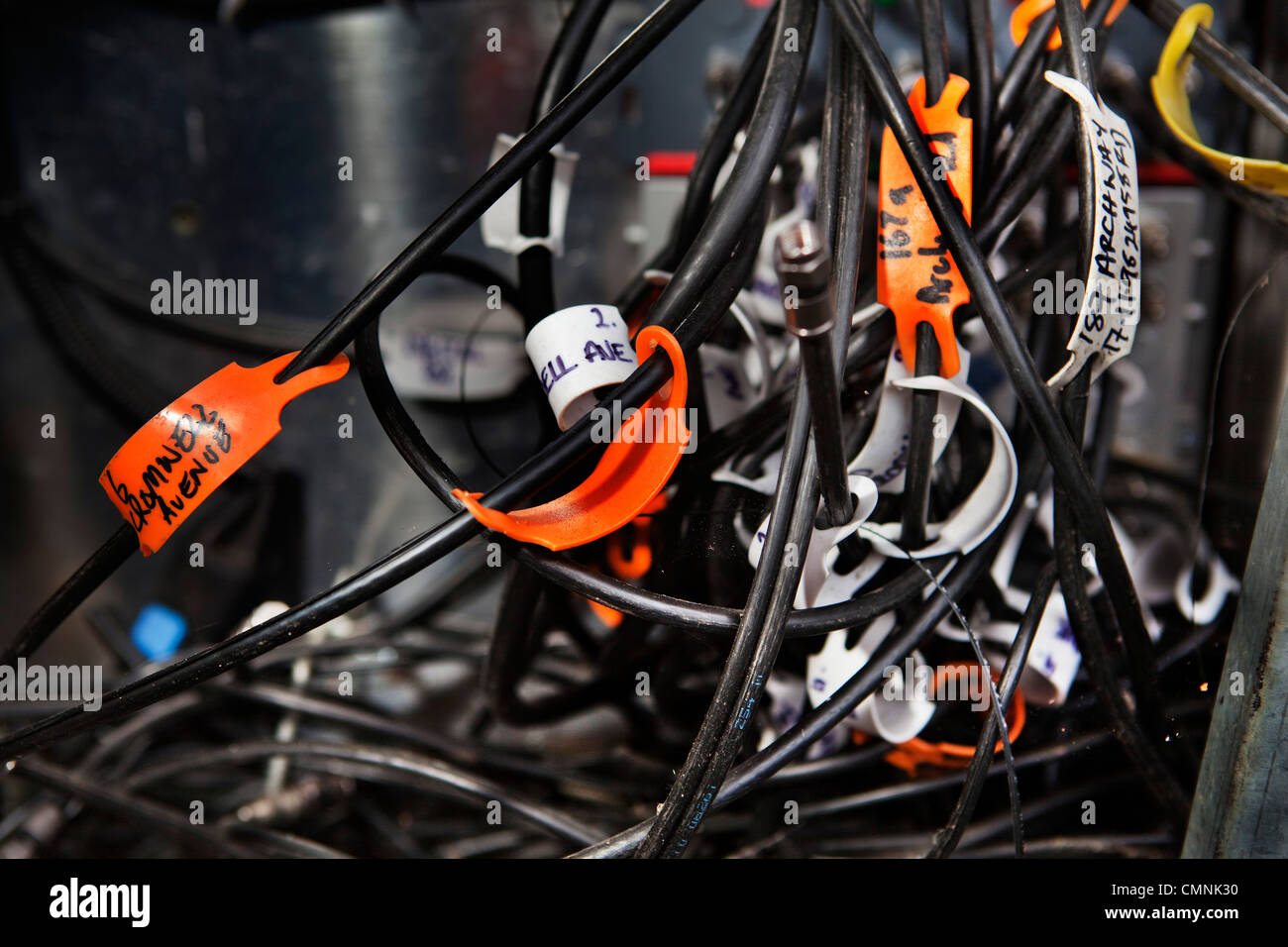 Wires in street junction box for cable TV. - Stock Image