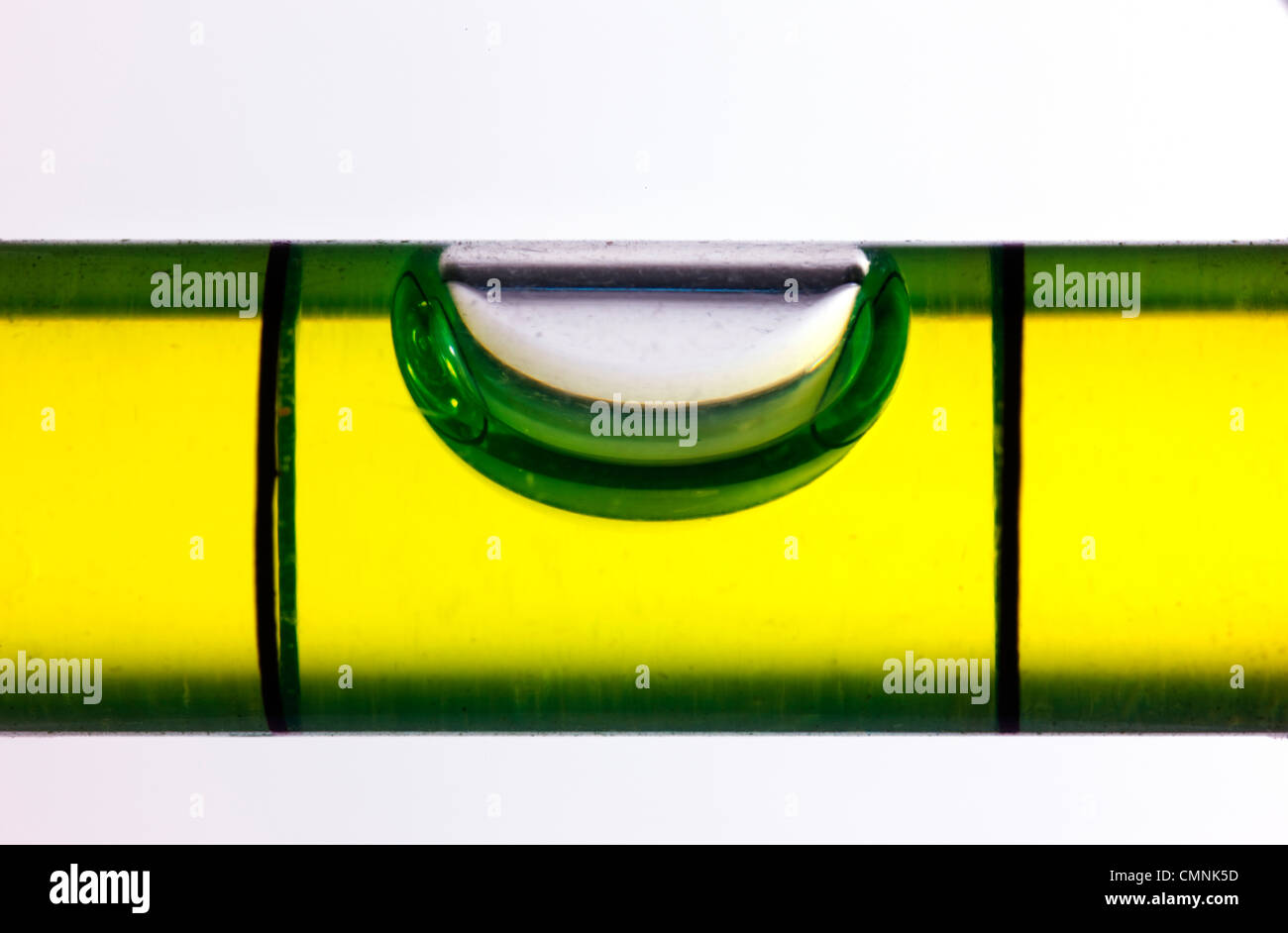 The air bubble in a level tool - Stock Image