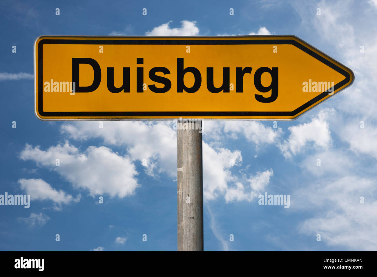 Detail photo of a signpost with the inscription Duisburg, North Rhine-Westphalia, Germany, Europe - Stock Image