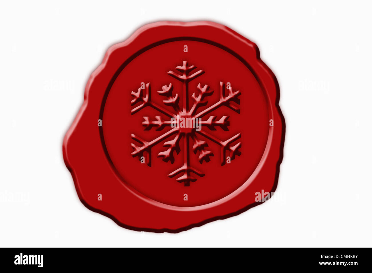 Detail photo of a red seal with a snowflake Symbol in the middle, background white. Stock Photo