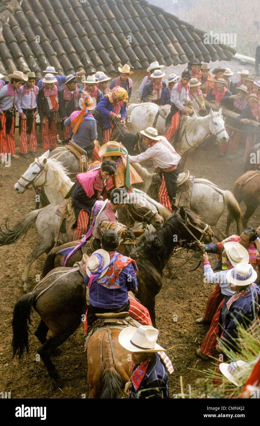 Todos Santos Indians race horses  during annual festivities during Day of the Dead All Saints Day  Todos Santos - Stock Image