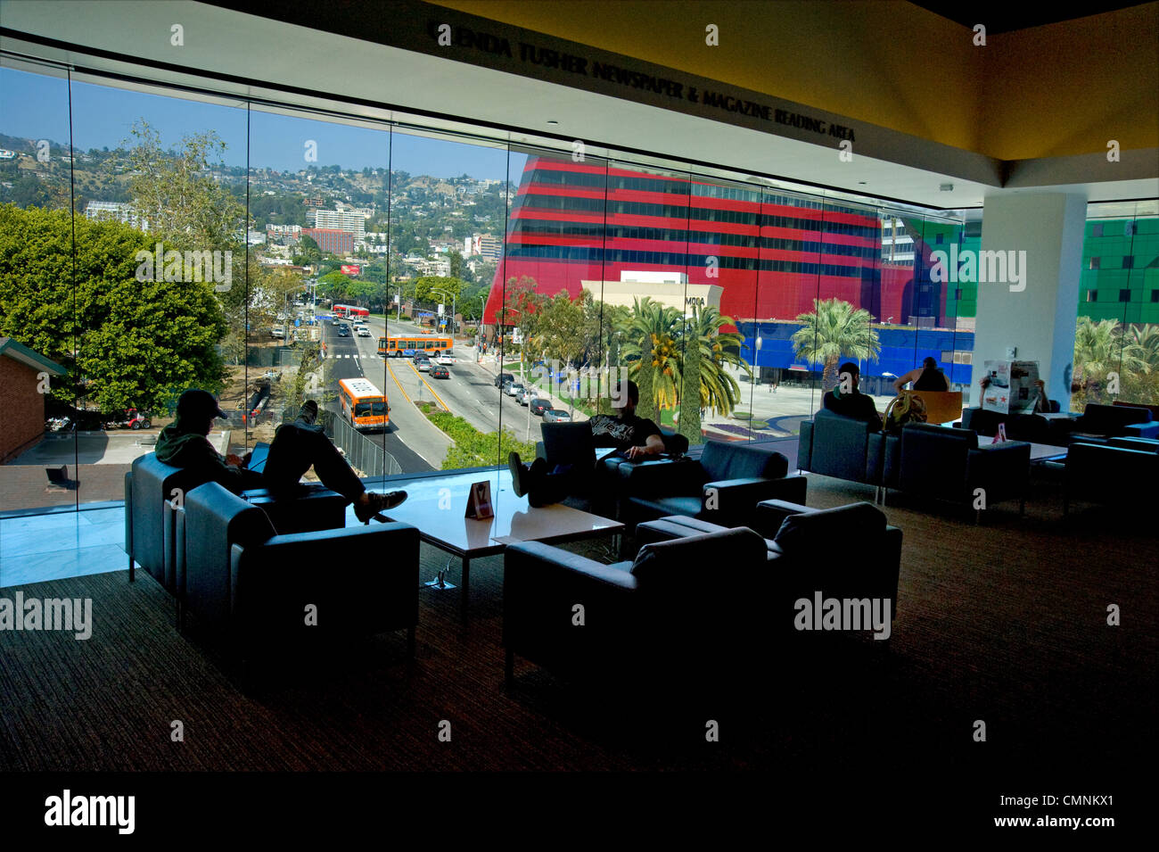 West Hollywood Public Library with view of Pacific Design Center and Hollywood Hills Stock Photo
