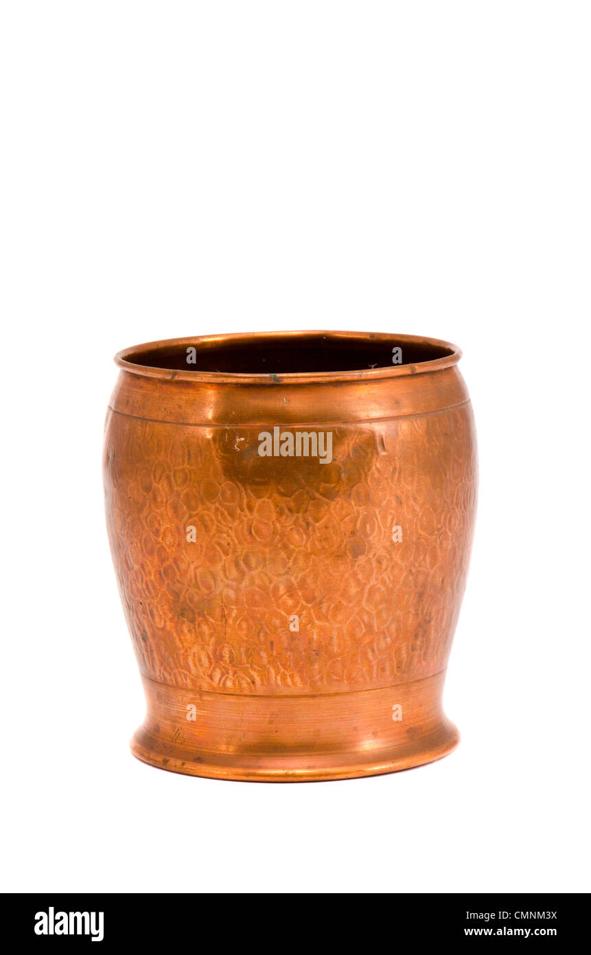 isolated on white copper vase for flowers - Stock Image