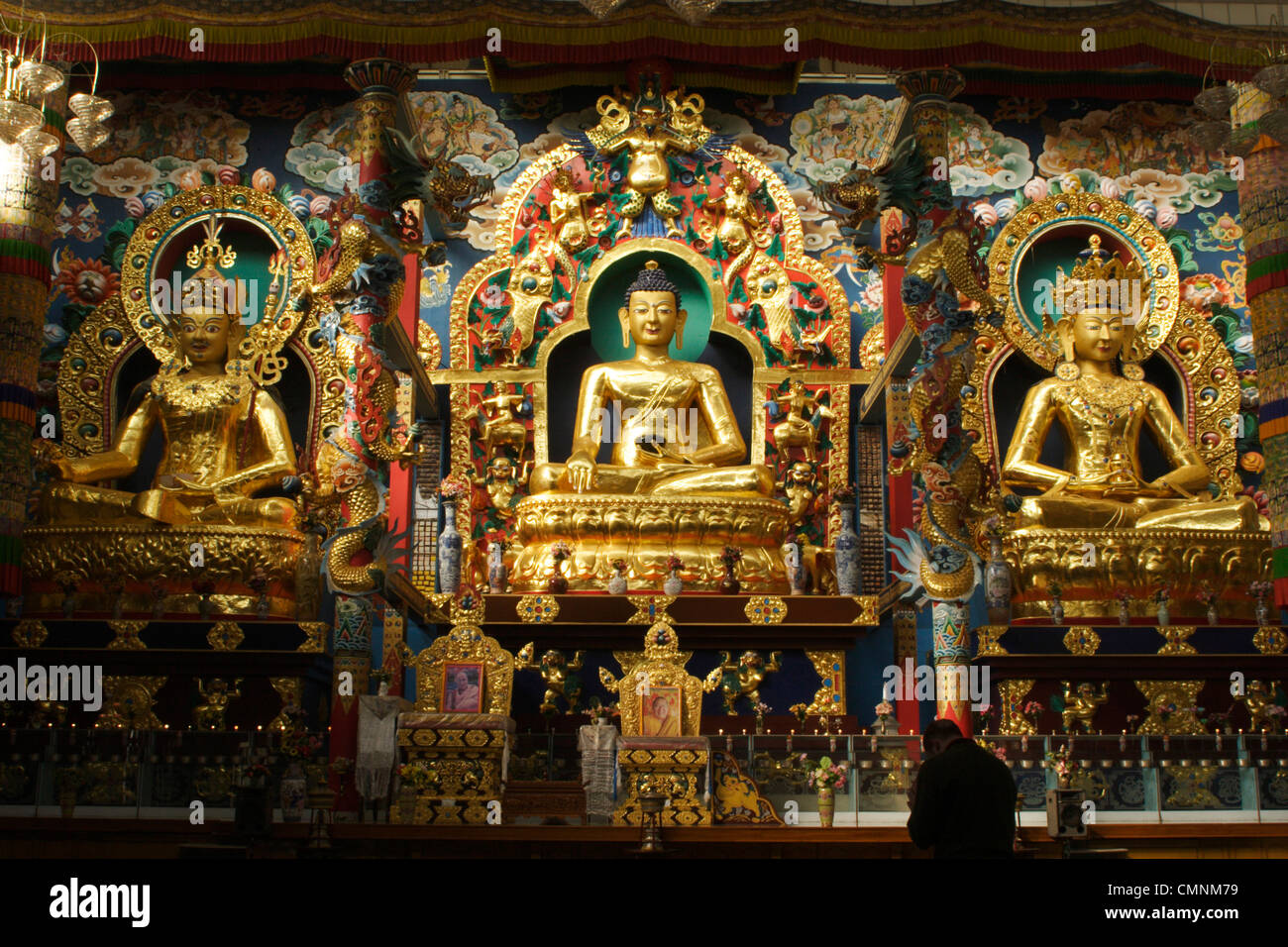 Monk prays before the Golden Buddha statues in the Tibetan Golden Buddha Temple at Namdroling, Karnataka, India. - Stock Image