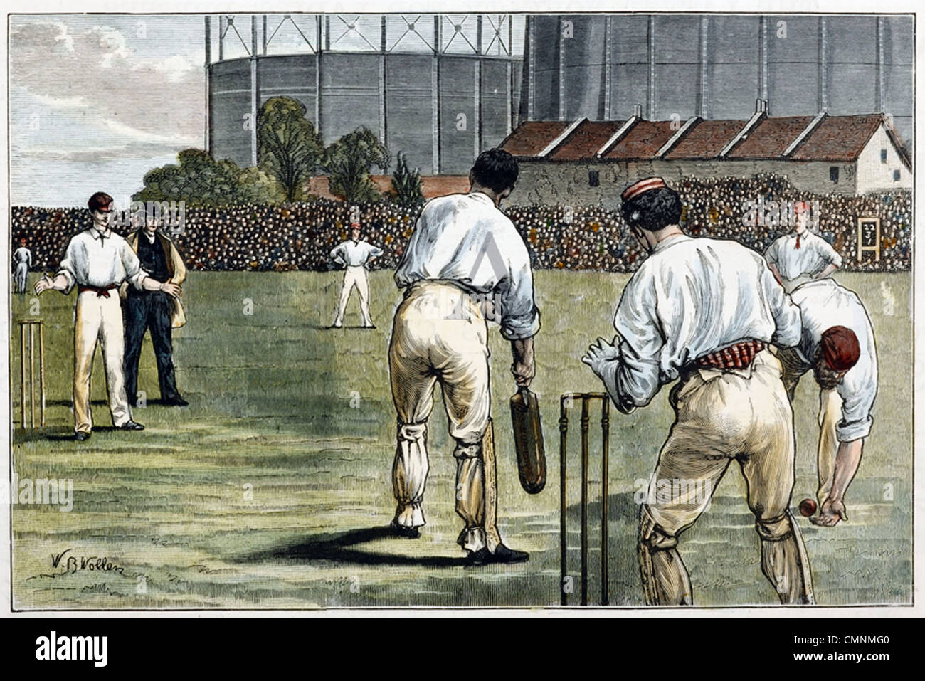 1882 CRICKET TEST MATCH at the Oval from left Read, Peate, Bannerman batting, Lyttleton and W.G. Grace - Stock Image