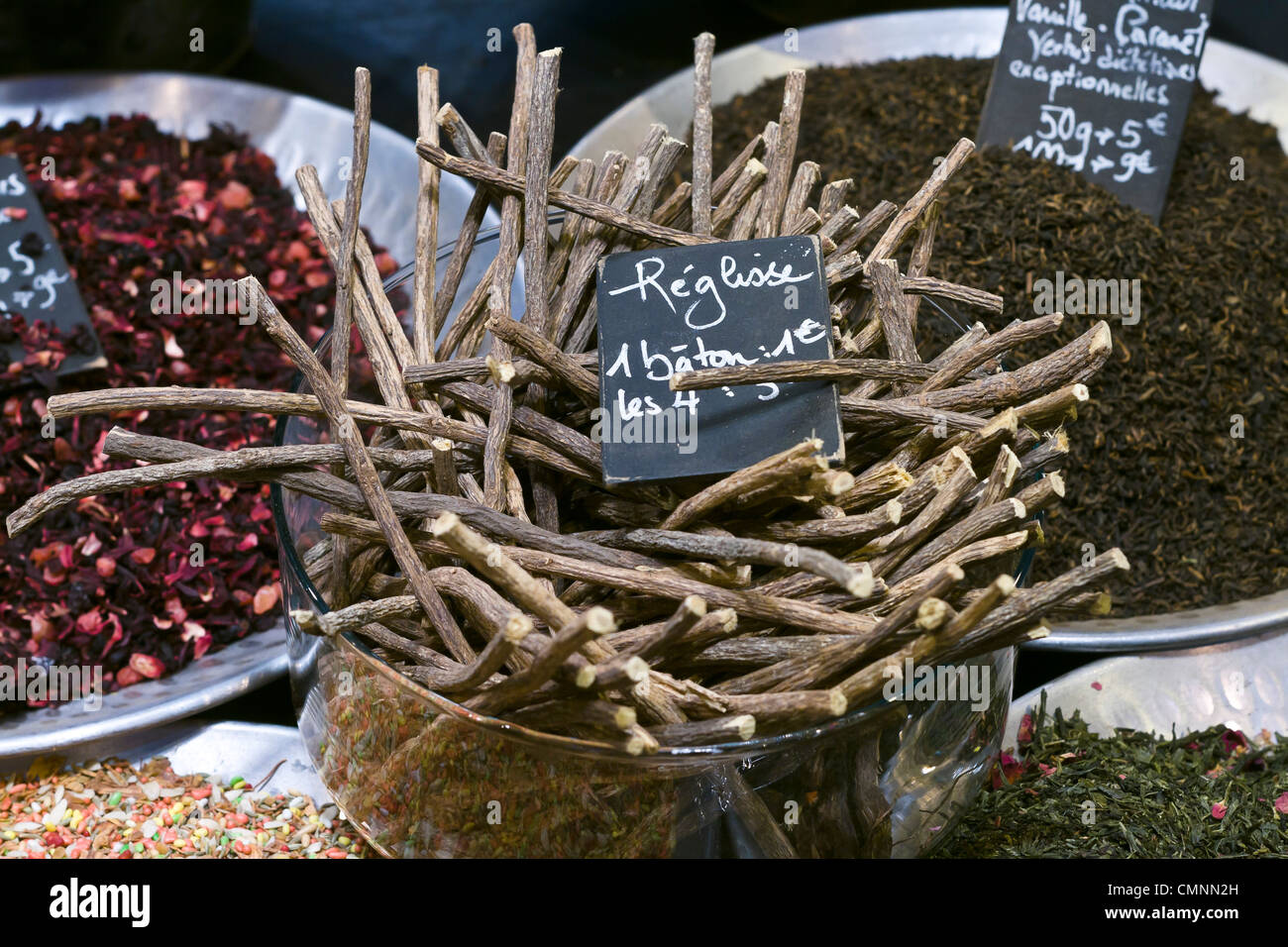 liquorice root spices booth International Tourism Show 2012 Paris - Stock Image
