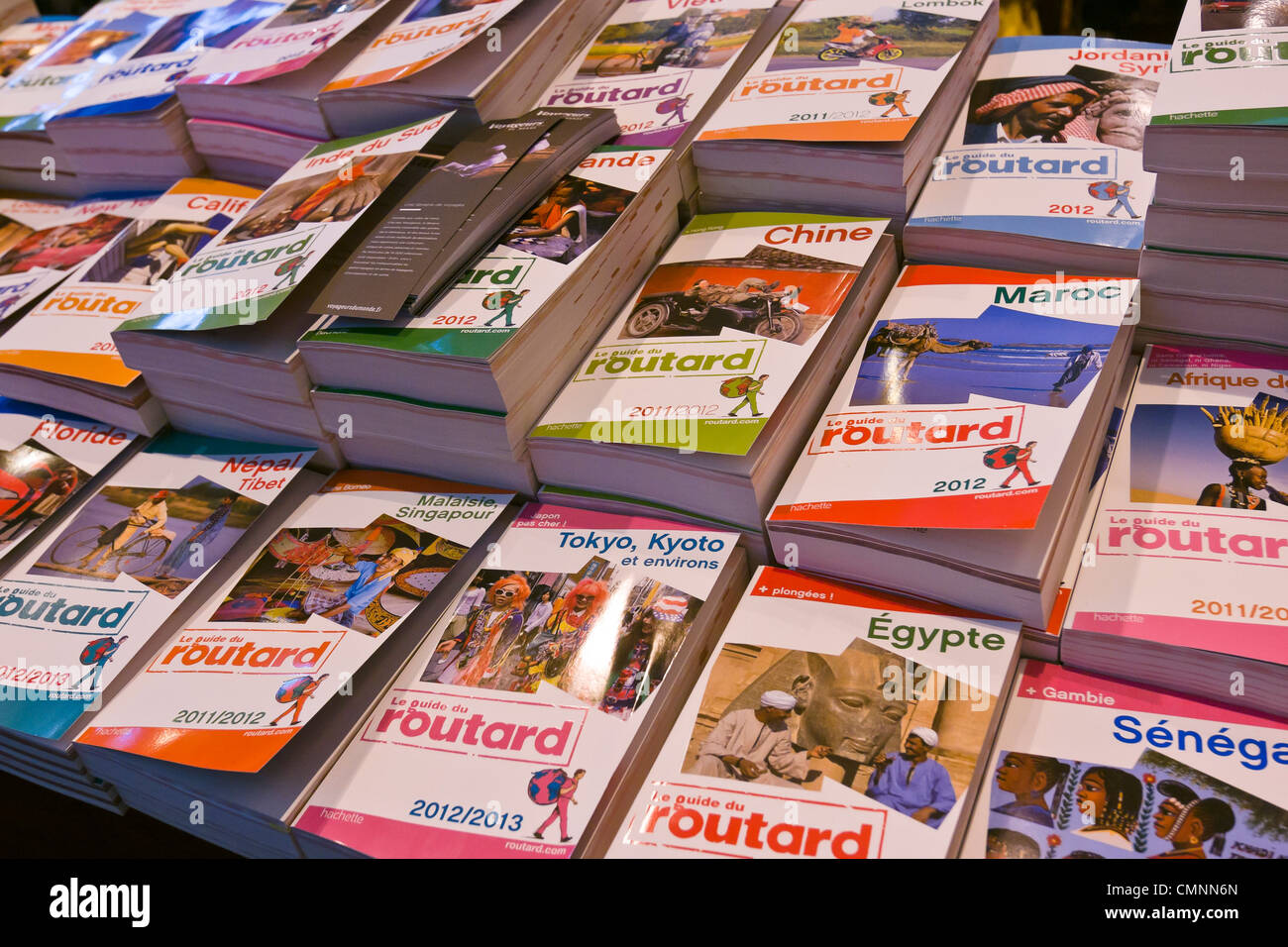 Hachette travel guide books booth International Tourism Show 2012 Paris - Stock Image