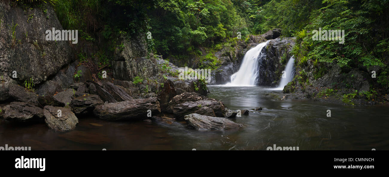 Waterfall at Crystal Cascades - a popular freshwater swimming hole near Cairns, Queensland, Australia Stock Photo