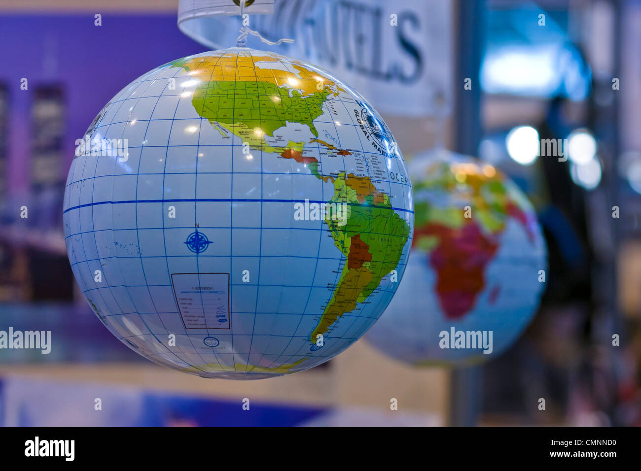 Inflatable earth globe map International Tourism Show 2012 Paris - Stock Image