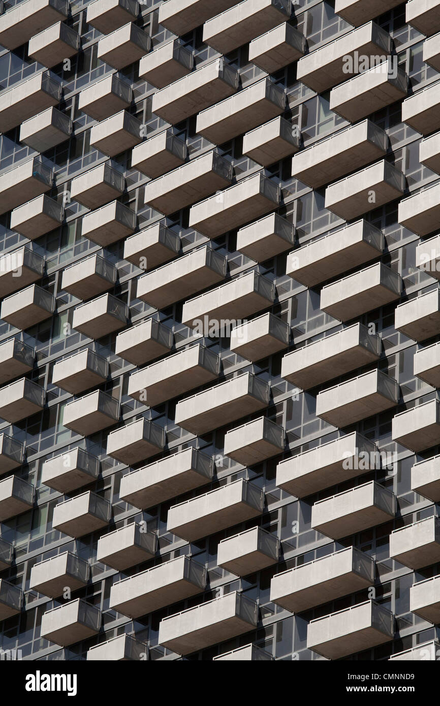 Chicago, Illinois - Balconies on a high rise apartment building. - Stock Image