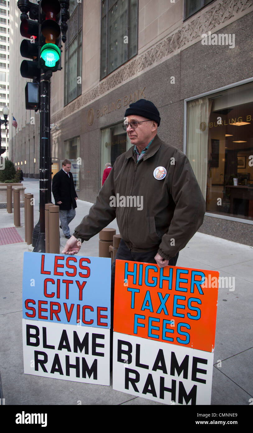 Man Blames Chicago Mayor Rahm Emanuel for High Taxes, Poor Services - Stock Image