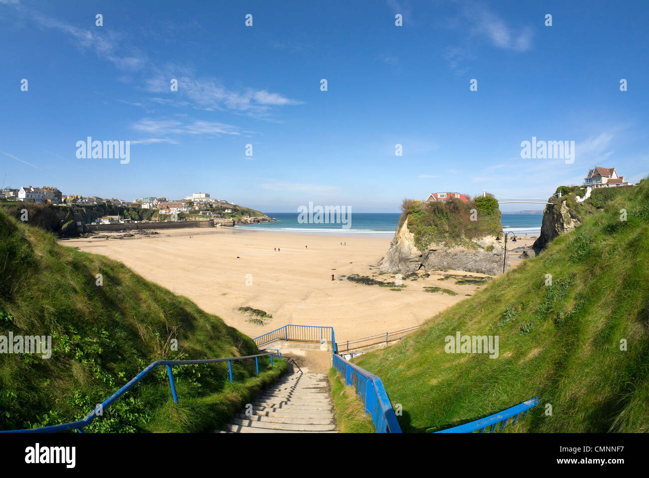 The steps to Towan Beach in Newquay, Cornwall UK. - Stock Image