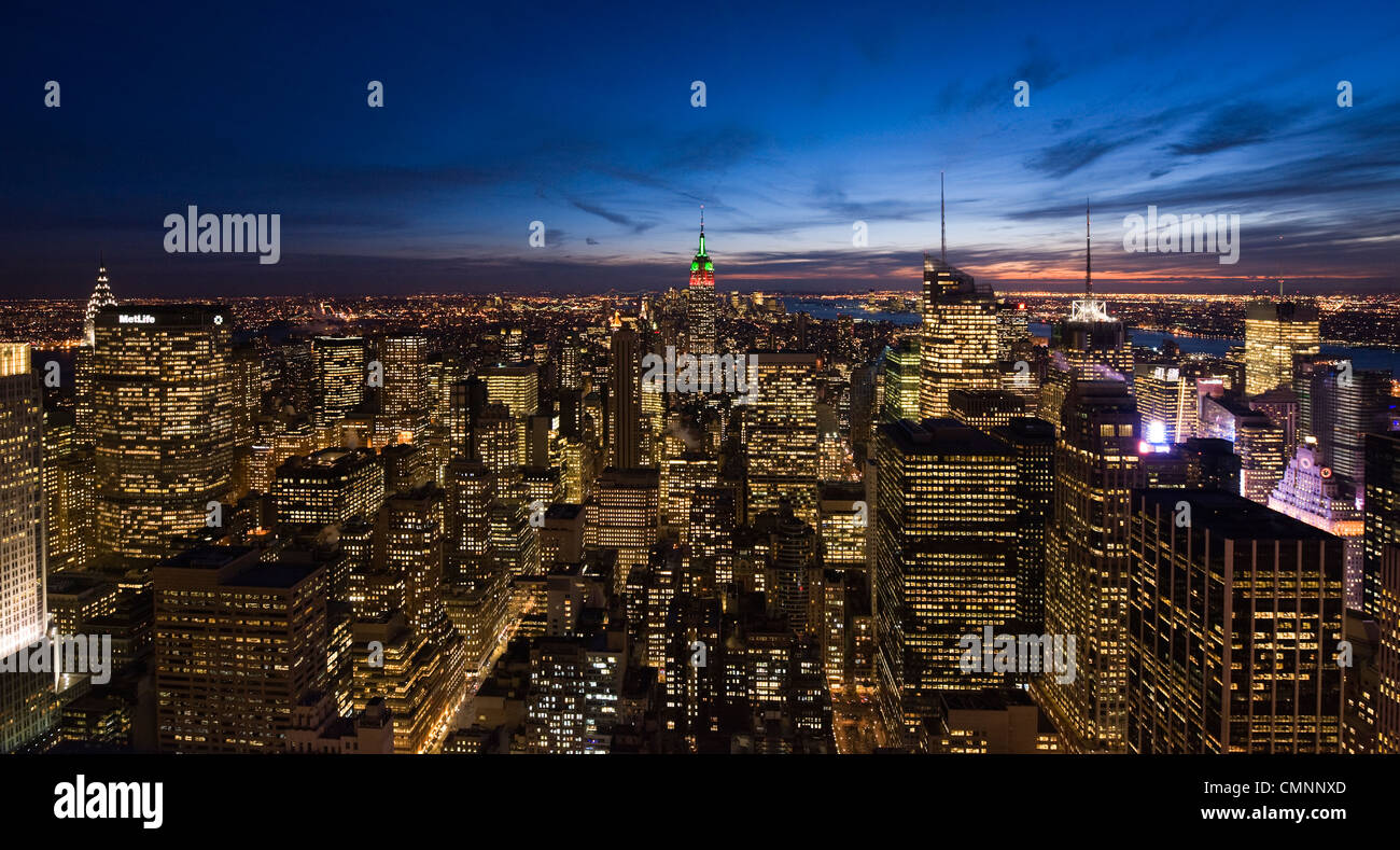 A view of Manhattan from the Rockerfeller Center during the holidays in New York City, USA, on January 4, 2010. Stock Photo