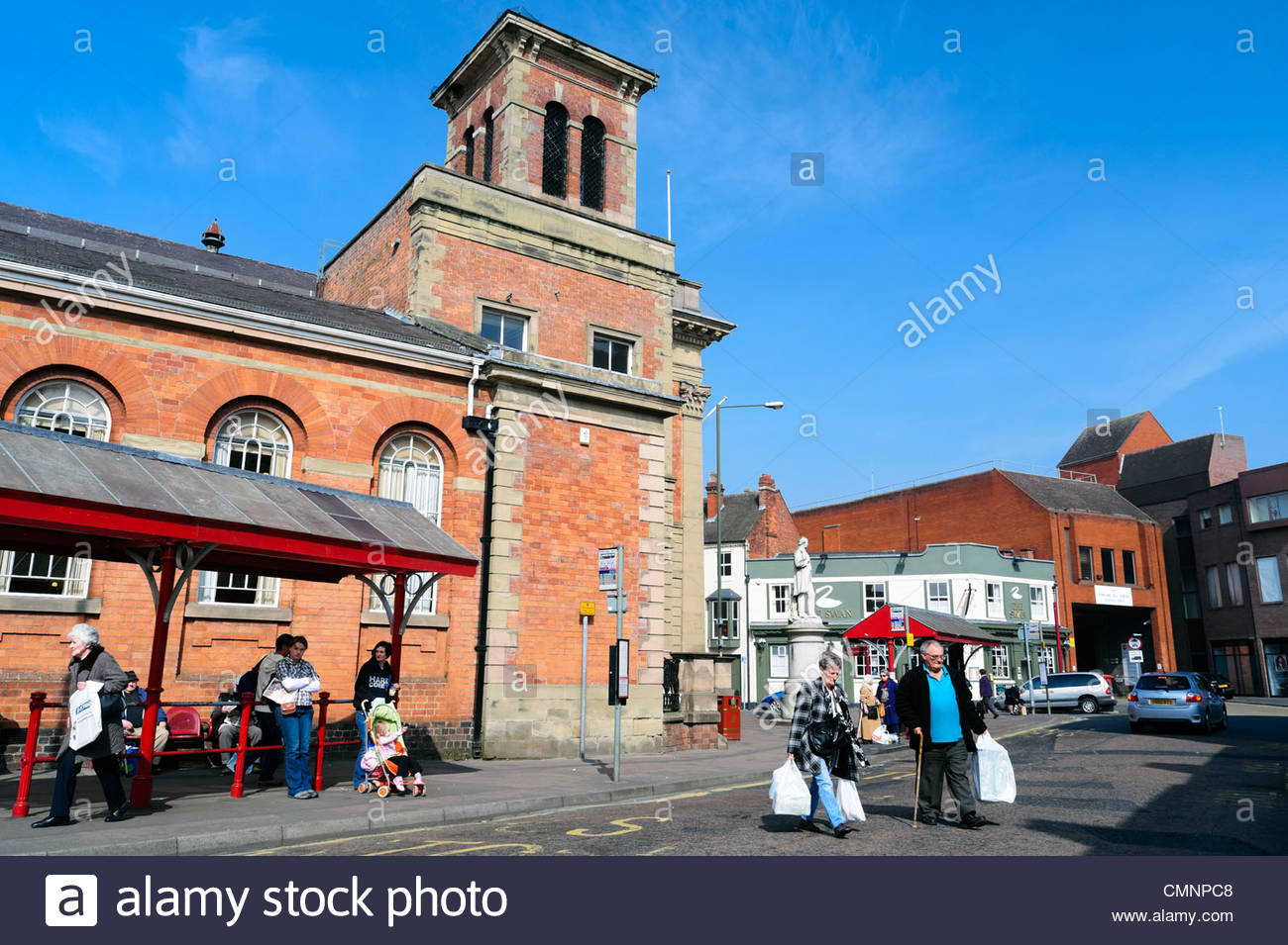 People shopping in Kidderminster town centre, UK. - Stock Image