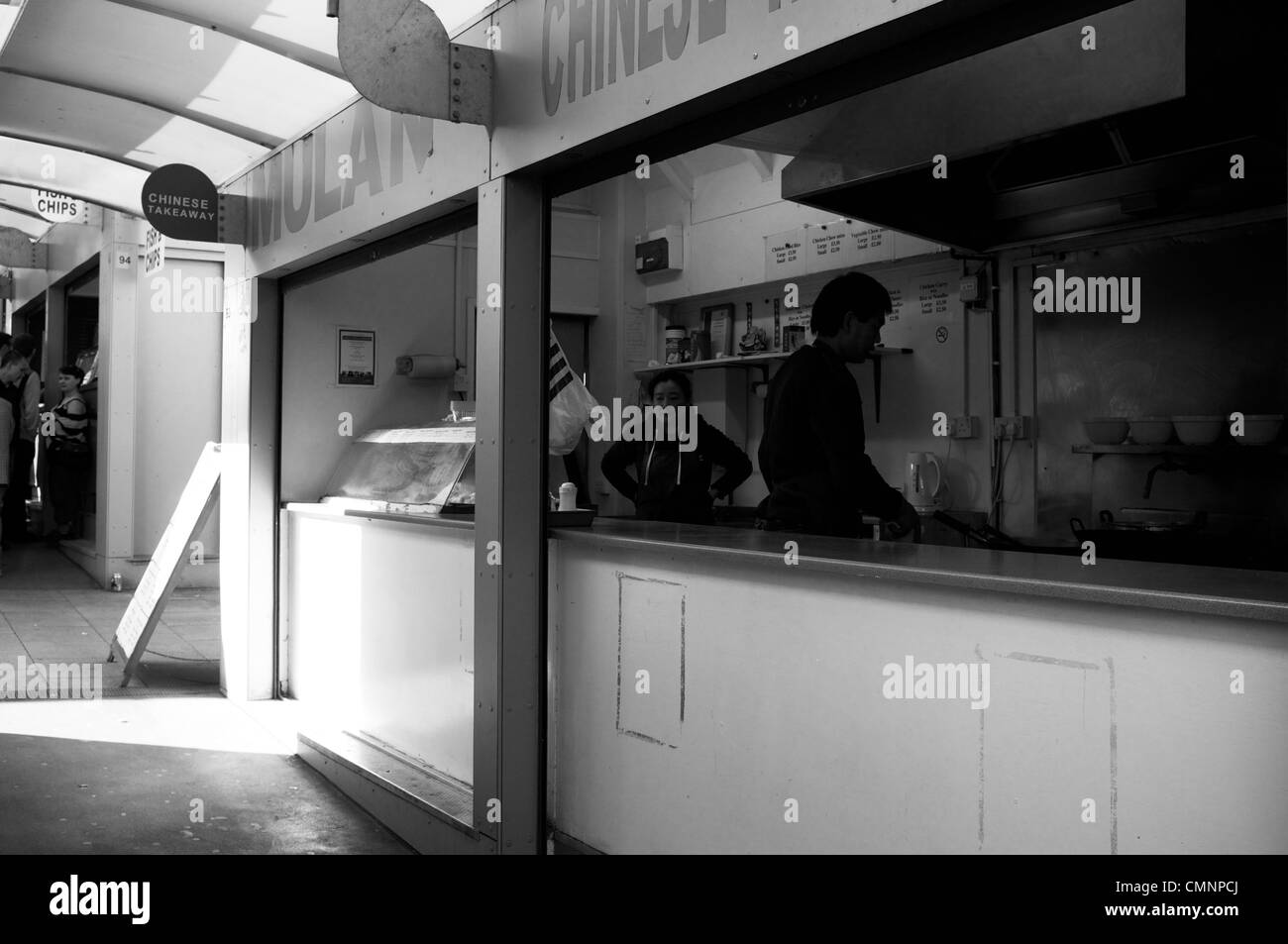 Chinese fast food stall on Norwich City Covered Market - Stock Image