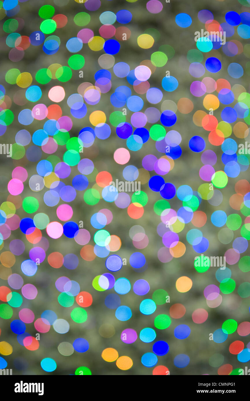 defocussed lights on a christmas tree - Stock Image