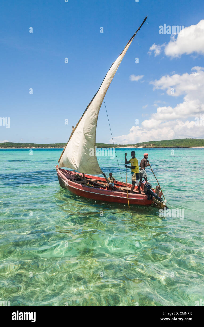Traditional fishing boat in the emerald sea of Antsiranana (Diego Suarez), north of Madagascar - Stock Image
