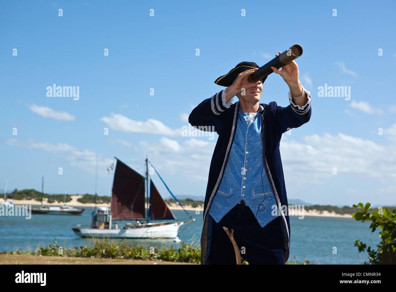 Re-enactment of Captain Cook's landing at Cooktown, Queensland, Australia - Stock Image