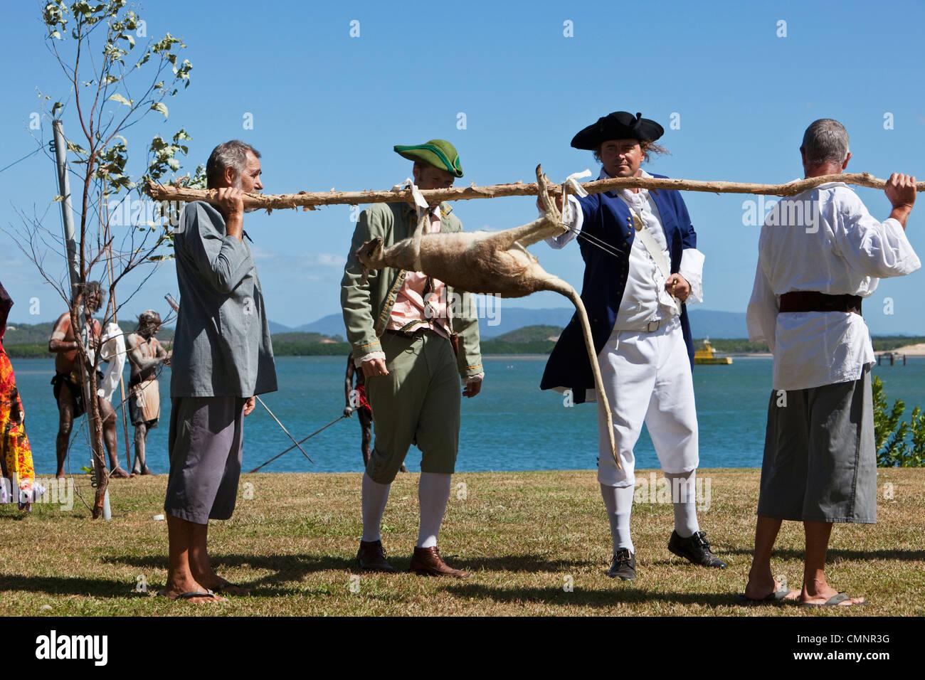 Re-enactment of Captain Cook's landing at Cooktown.  Cooktown, Queensland, Australia - Stock Image