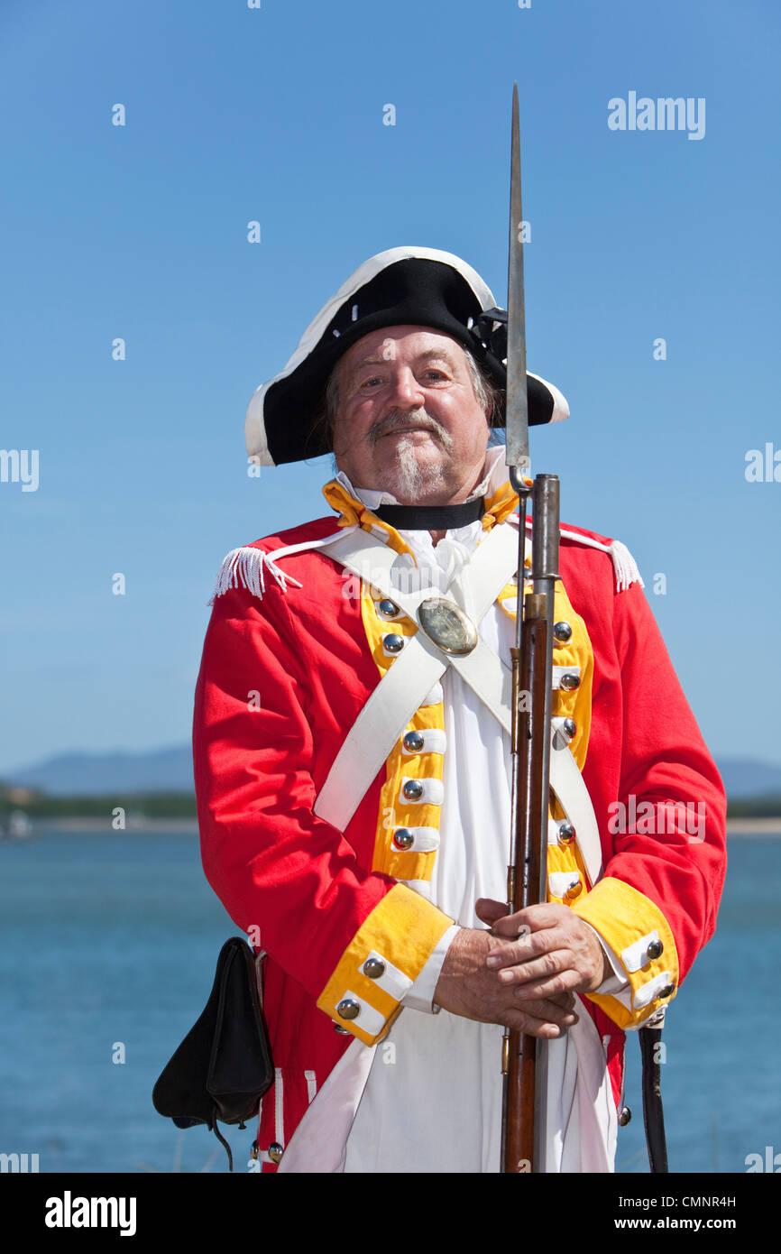 British soldier during re-enactment of Captain Cook's landing, Cooktown, Queensland, Australia - Stock Image