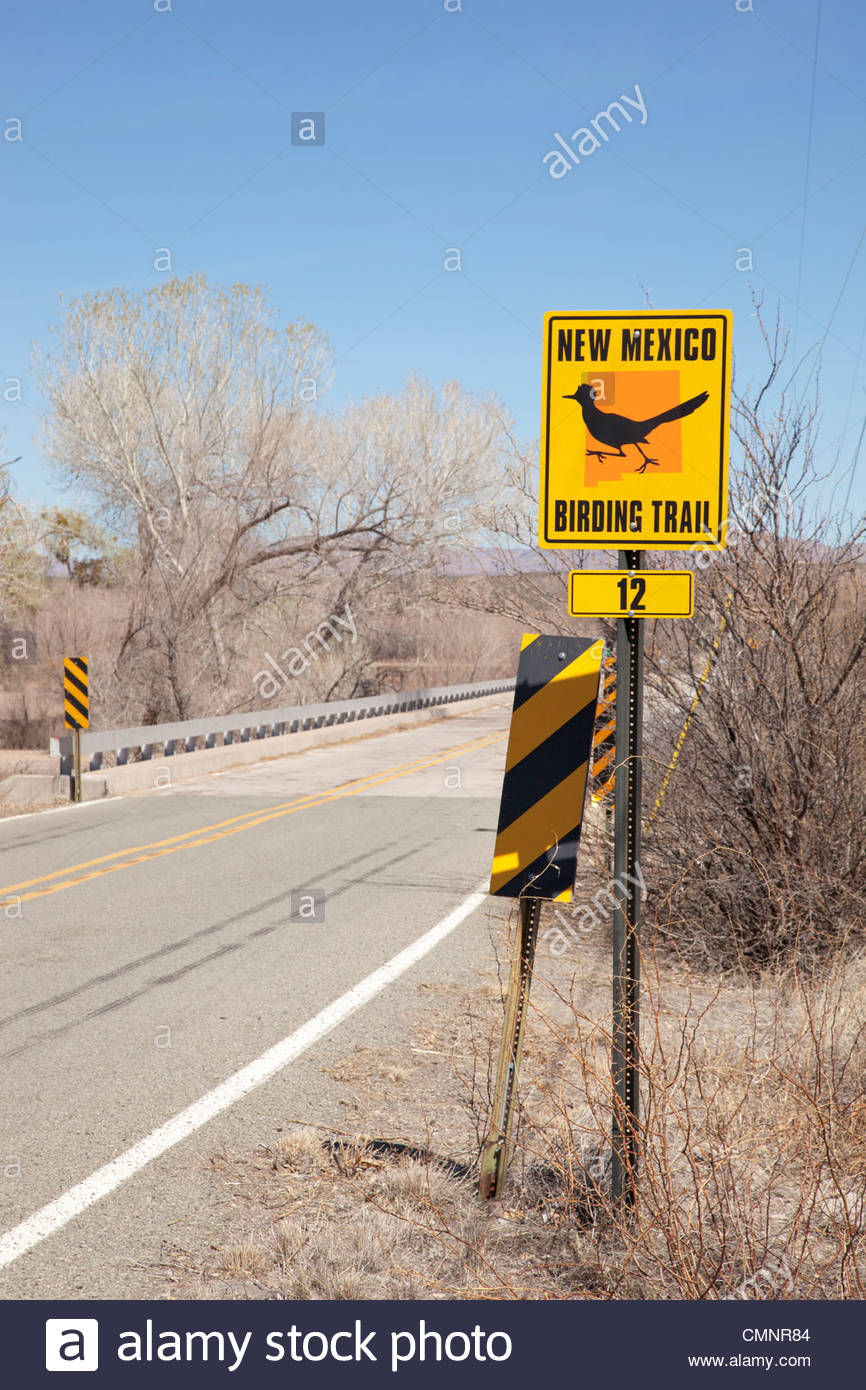 Highway Sign  'NEW MEXICO'  BIRDING TRAIL - Stock Image