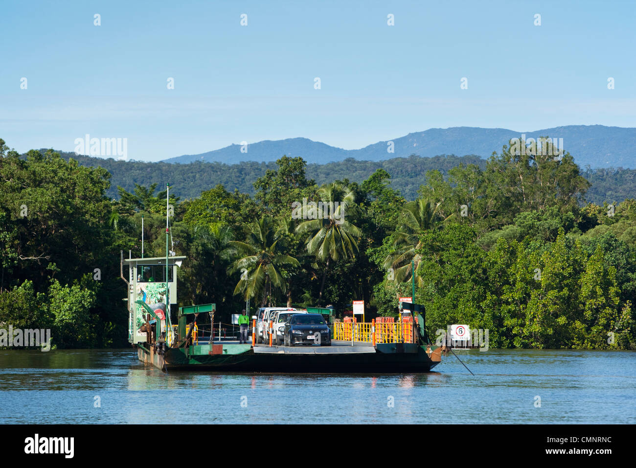 The Daintree River cable ferry. Daintree National Park, Queensland, Australia - Stock Image
