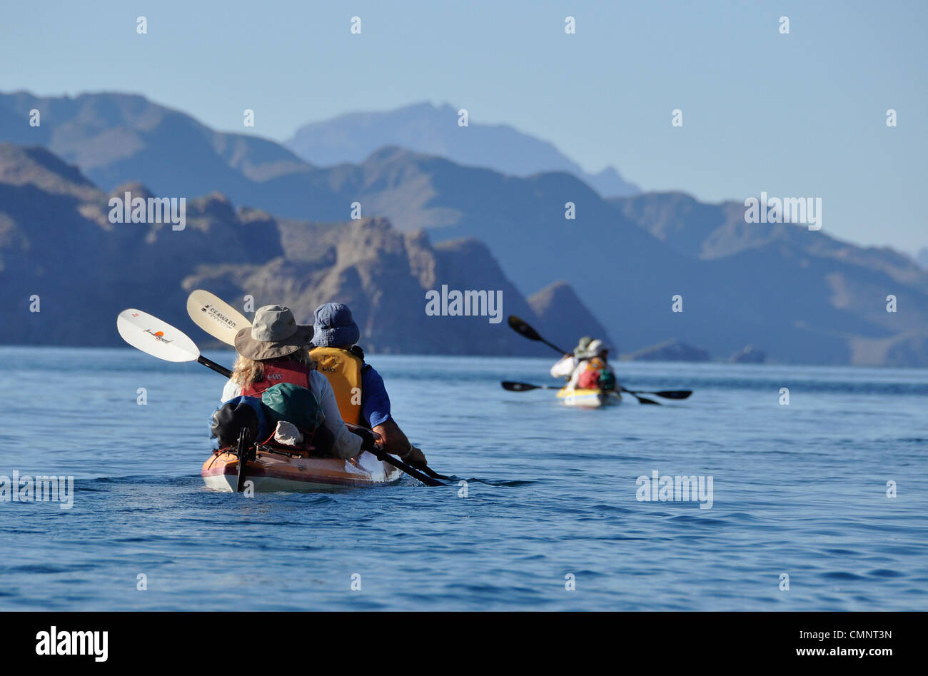 Sea kayaking in the Sea of Cortez, Loreto Bay National Park, Baja California, Mexico. - Stock Image