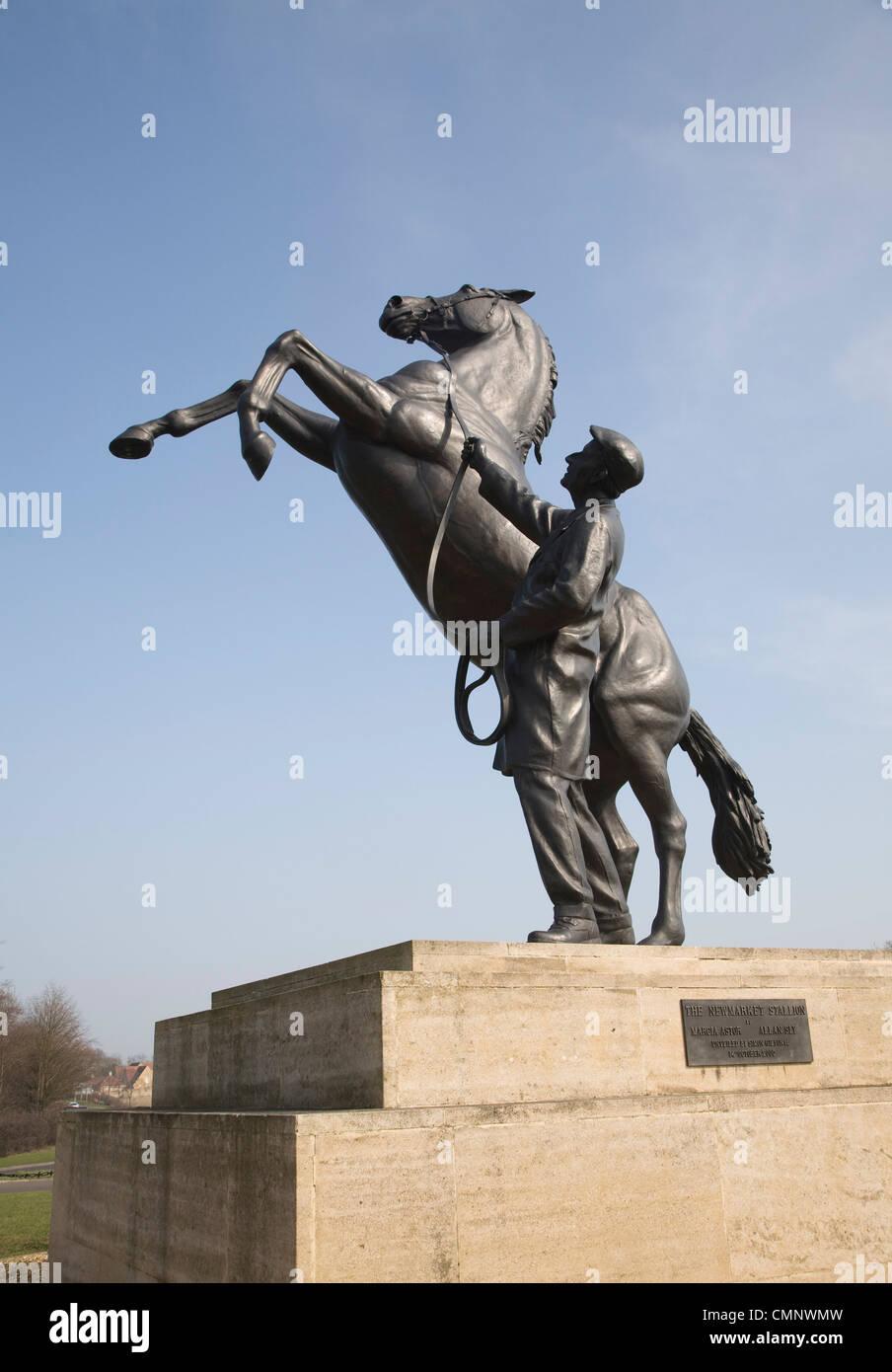 The Newmarket Stallion sculpture, Newmarket, Suffolk, England - Stock Image