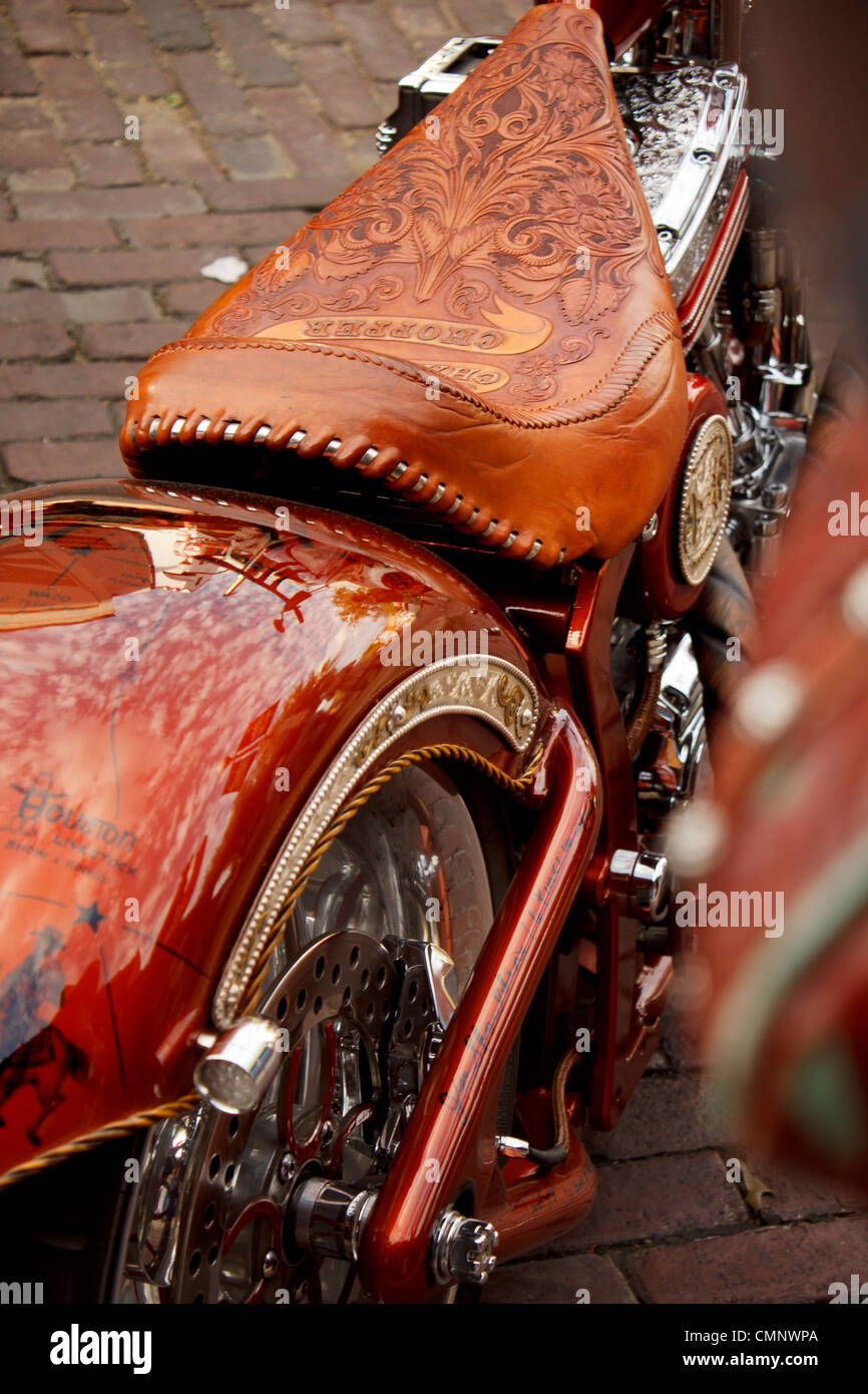 Close-up detail of Pro Rodeo Champions Chopper bike. - Stock Image
