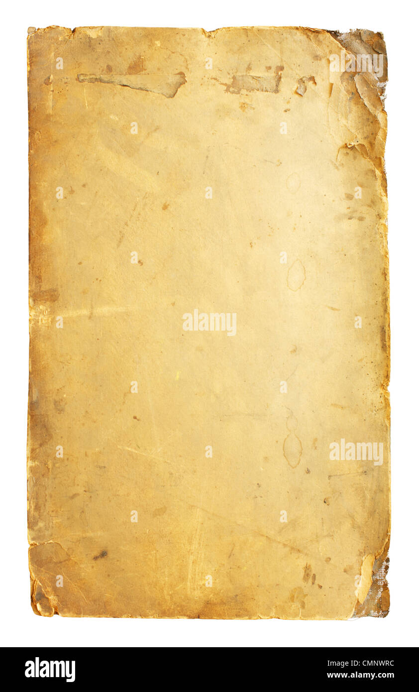 Vintage paper isolated on white background - Stock Image
