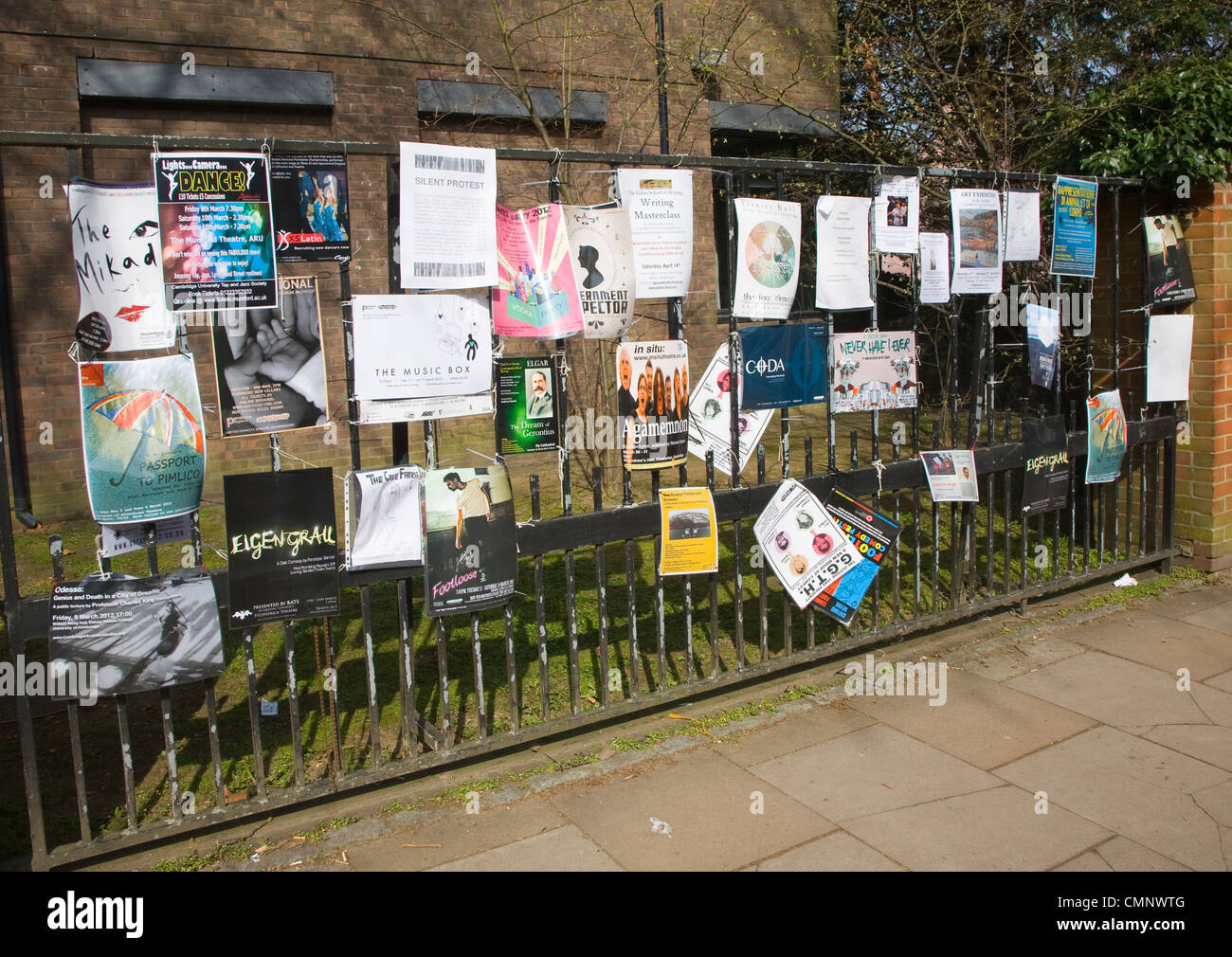 Student life posters for cultural events and activities, University of Cambridge, England - Stock Image