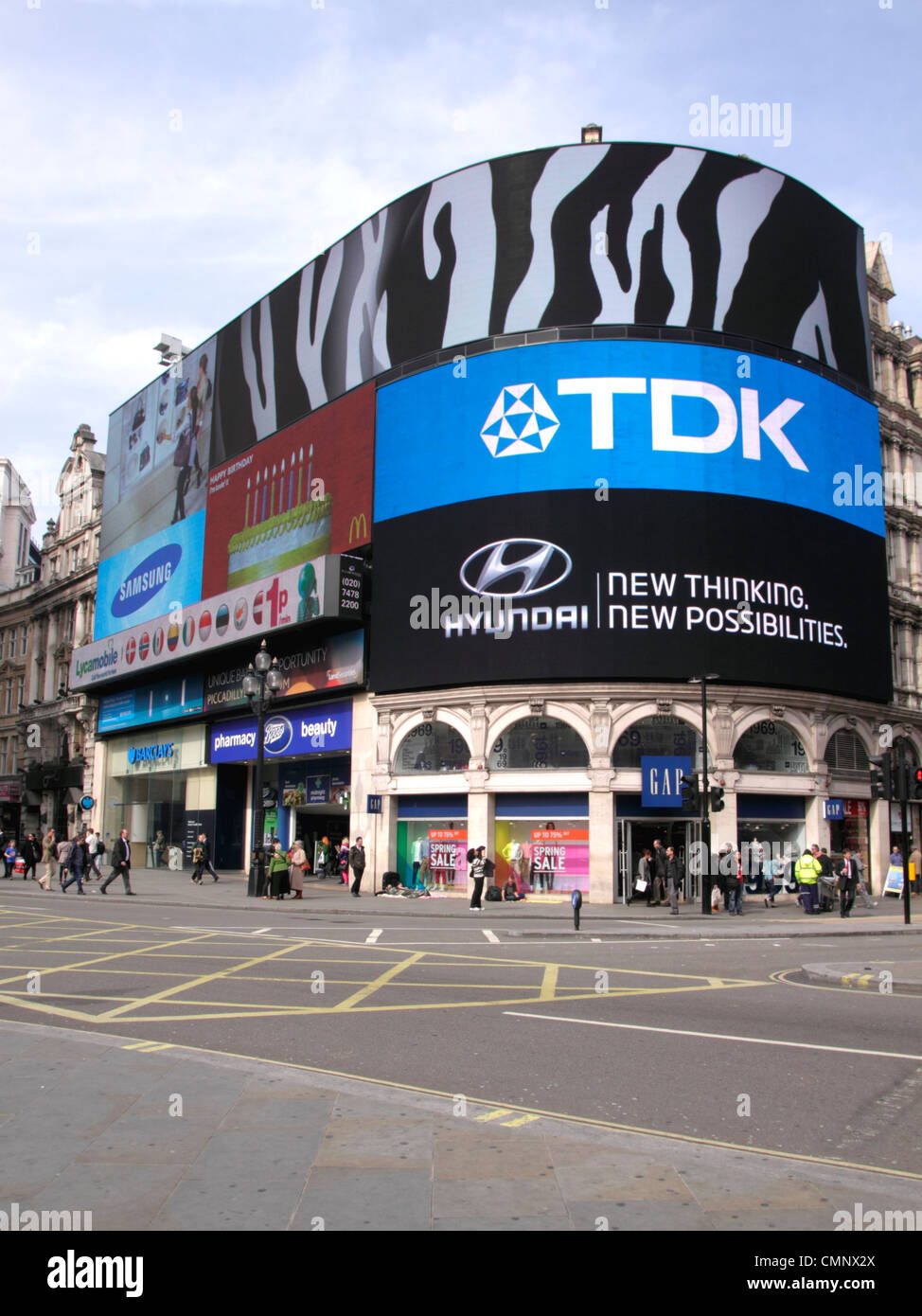 Electronic billboard at Piccadilly Circus London Stock Photo