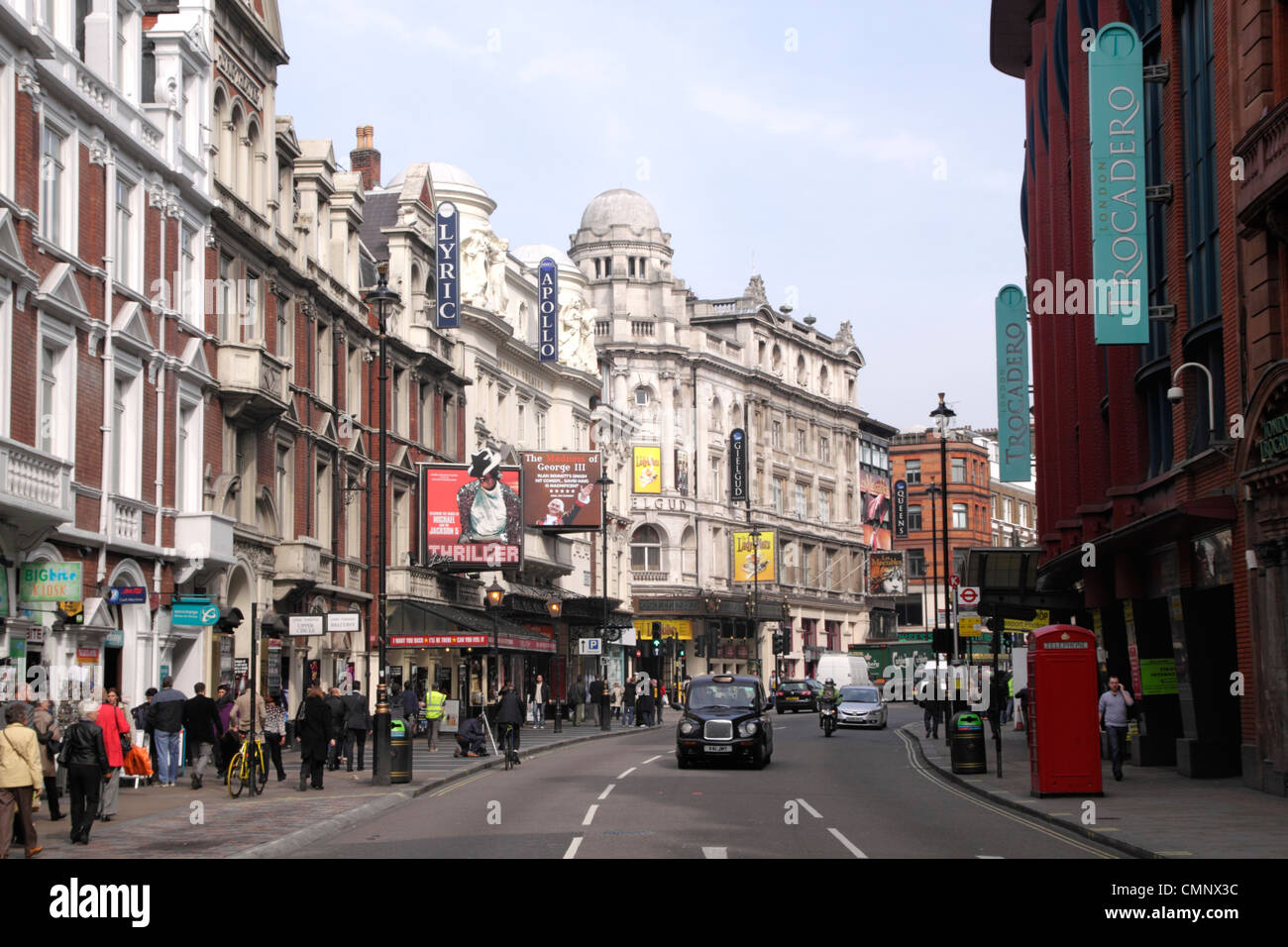 View along Shaftesbury Avenue London - Stock Image