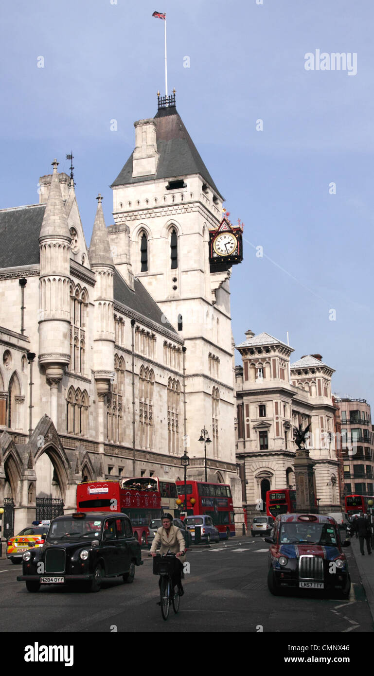 Fleet Street and the Royal Courts of Justice London - Stock Image