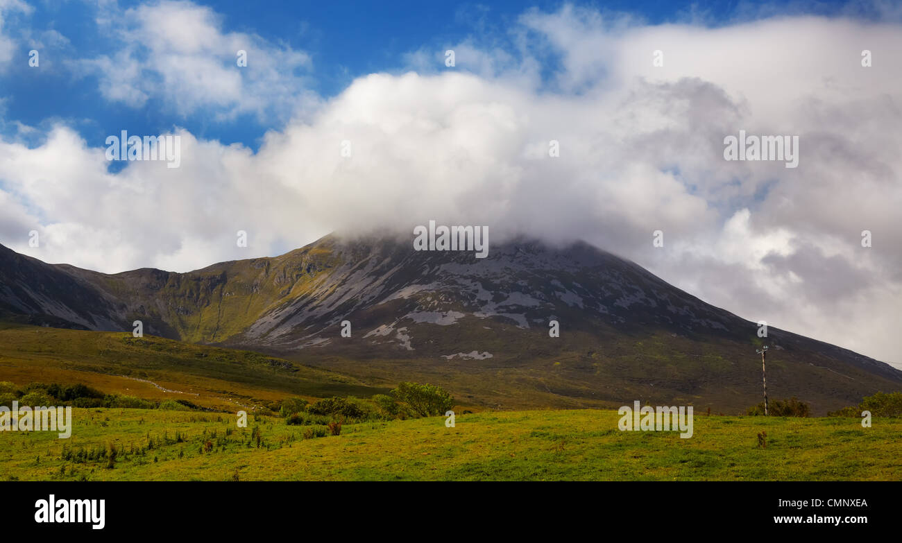 Croagh Patrick summit in summertime, county Mayo, Ireland. - Stock Image