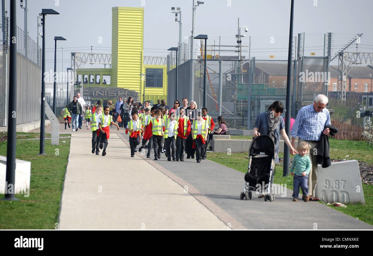 Schoolchildren visit the 2012 Olympic Site. - Stock Image
