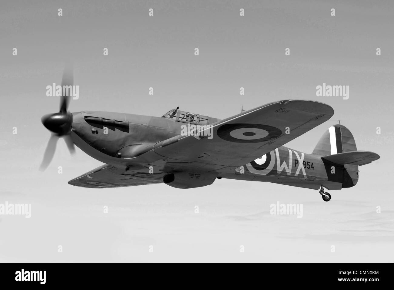 Black and white image of a WW2 Hawker Hurricane - Stock Image