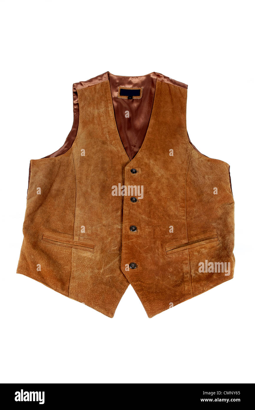 A tan suede man's waistcoat on a white background - Stock Image