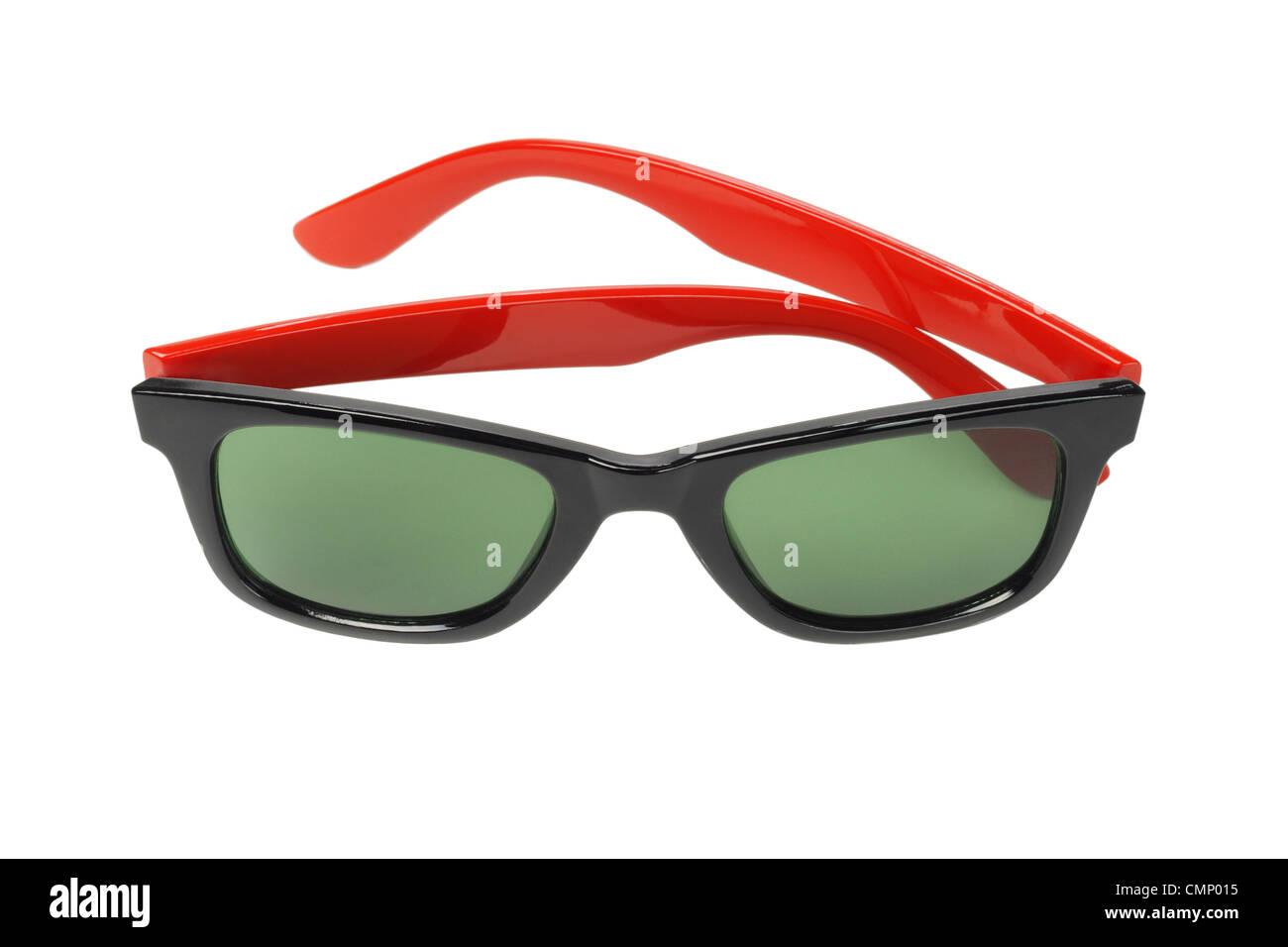 Pair of Fashionable Sunglasses on White Background - Stock Image
