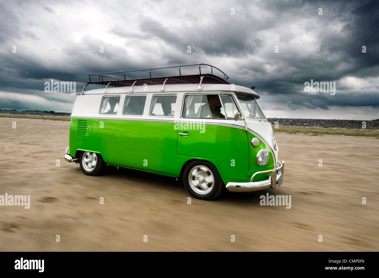 Green Vw Volkswagen Split Screen Camper Van Bus Hippie Hippy 1960s 1950s Aircooled Retro Beach British