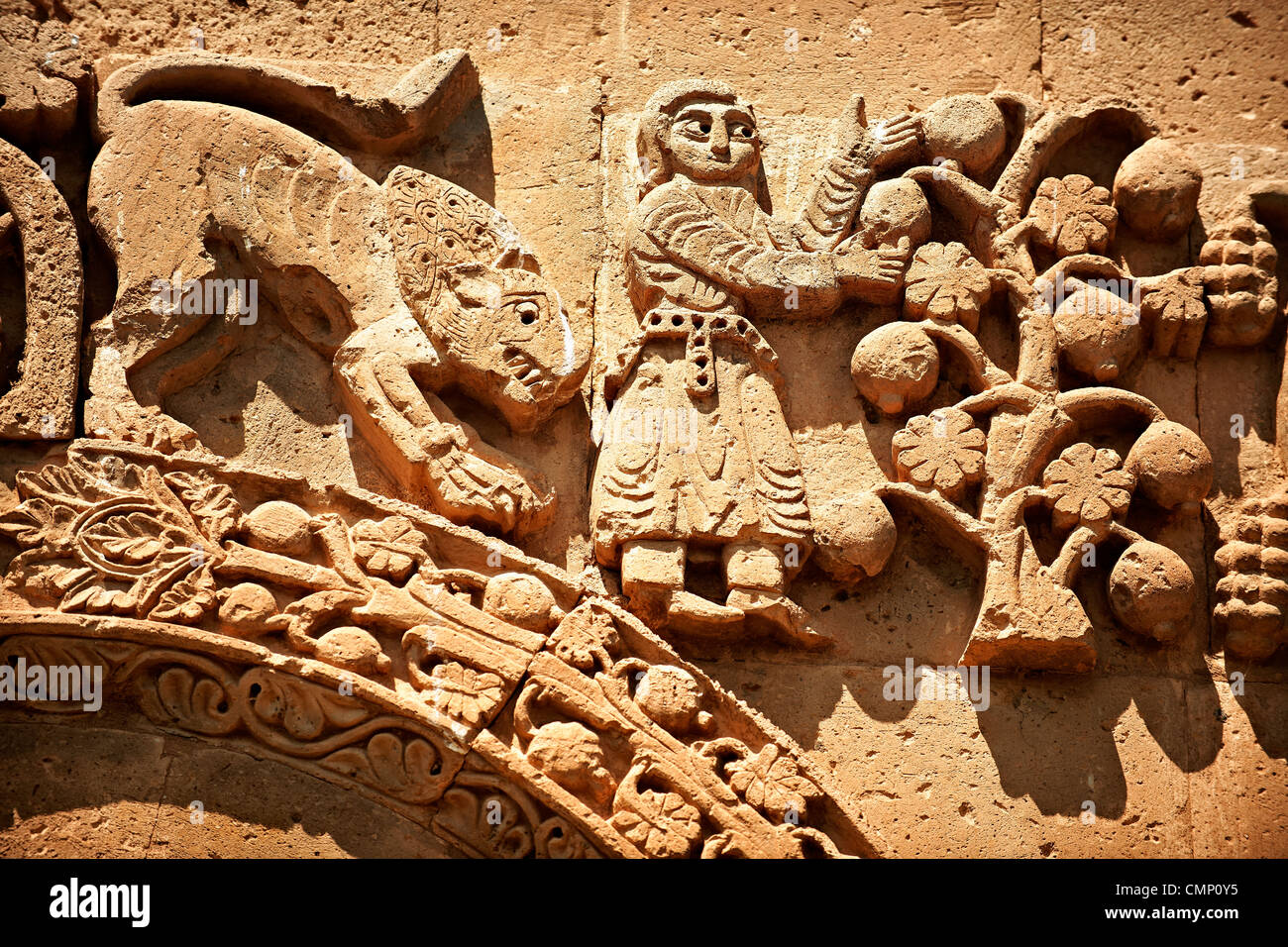 Armenian religious sculpture scenes from the Bible, Akdamar Cathedral of the Holy Cross, Lake Van Turkey - Stock Image