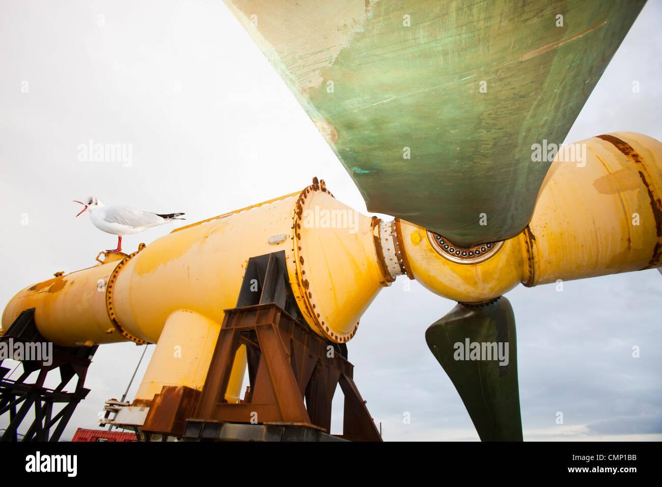 A tidal energy turbine on the dockside in Kirkwall, Orkney, Scotland, UK, - Stock Image