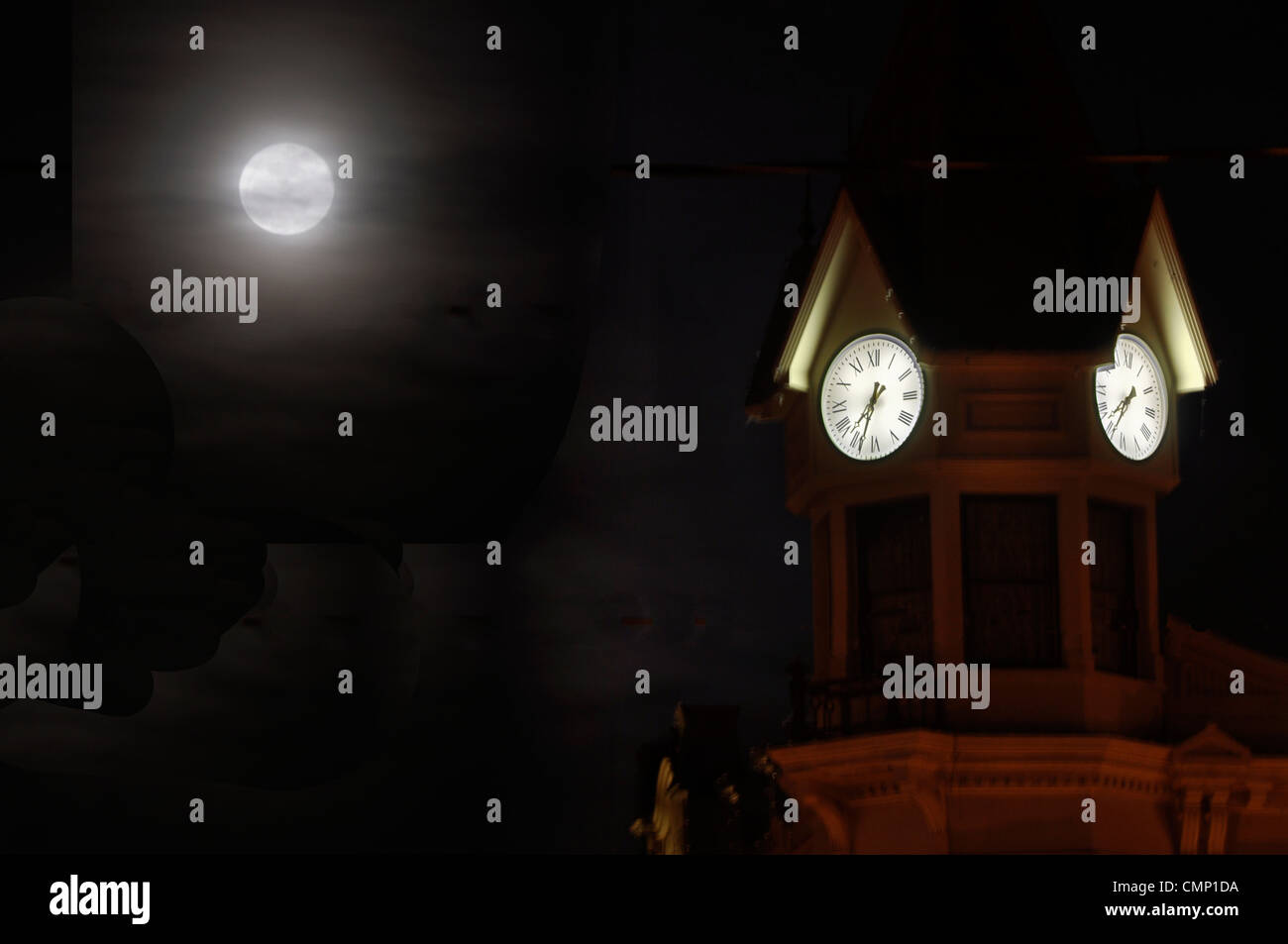 Moon and the clocktower cupola of the Geiser Grand Hotel in Baker City, Oregon. - Stock Image