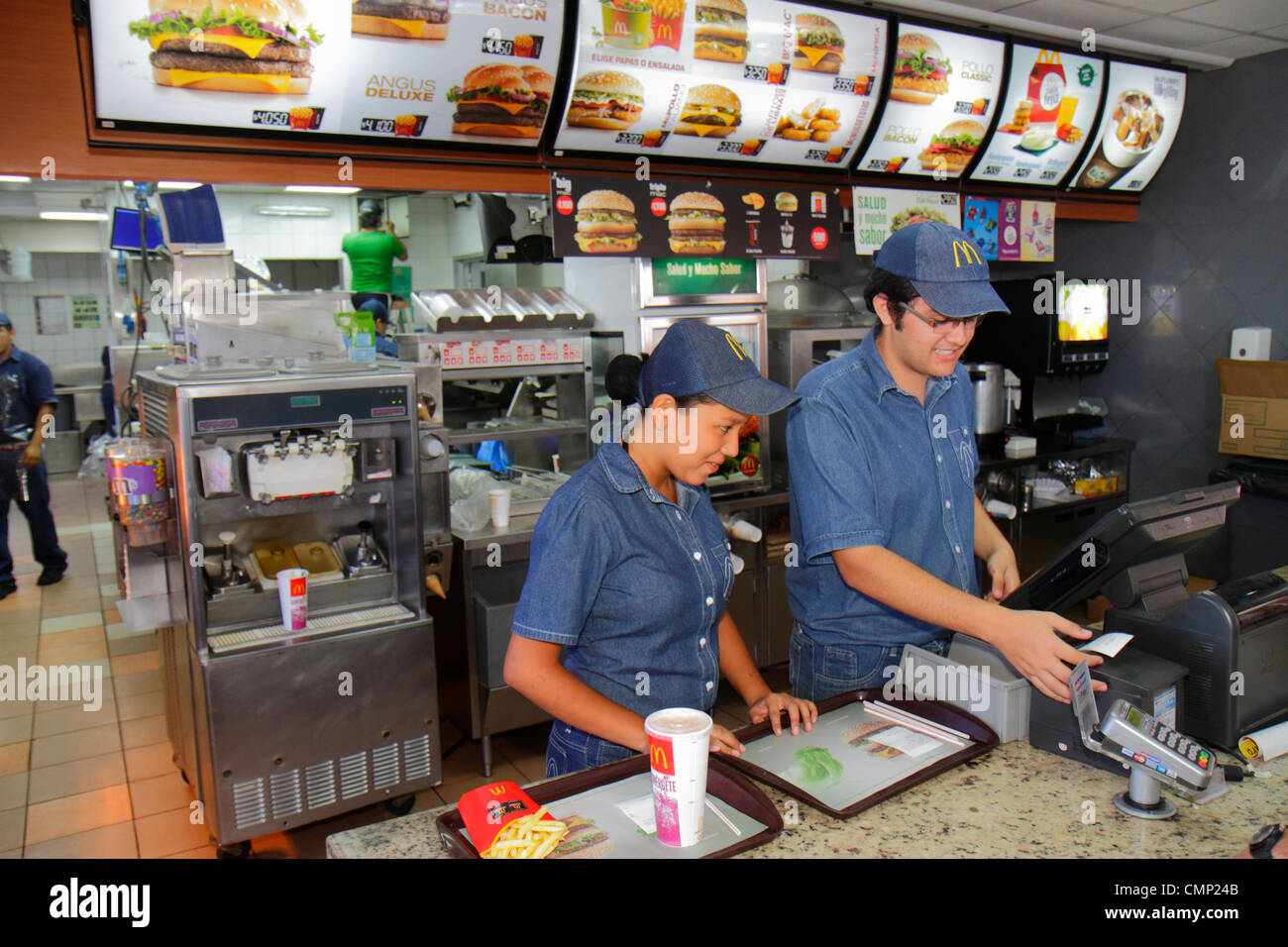 Chile Arica Paseo Peatonal 21 de Mayo pedestrian mall McDonald's fast food restaurant business global company - Stock Image