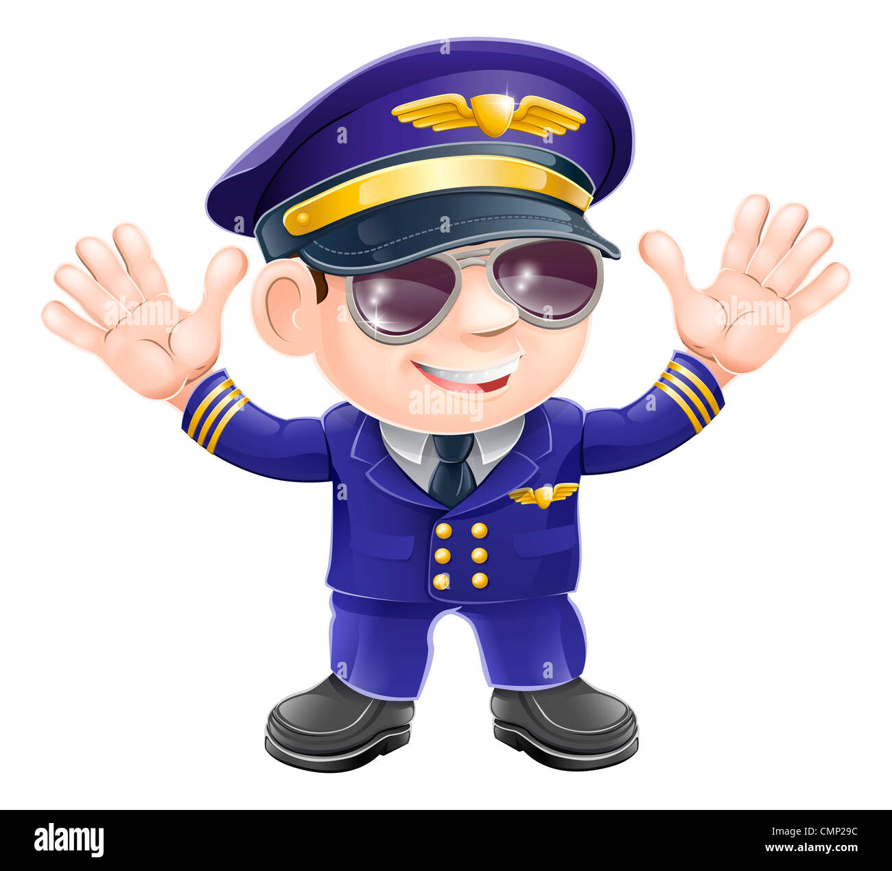 29d752f286 Illustration of a cute happy airplane pilot wearing sunglasses and waving