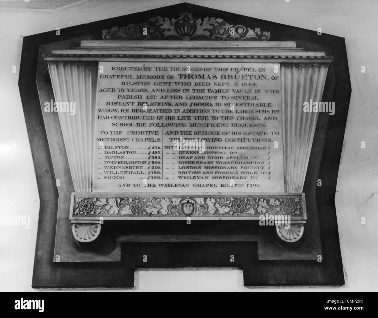 Brueton Memorial, High Street Primitive Methodist Chapel, Bilston, 23124. Memorial plaque in memory of Thomas Brueton, - Stock Image