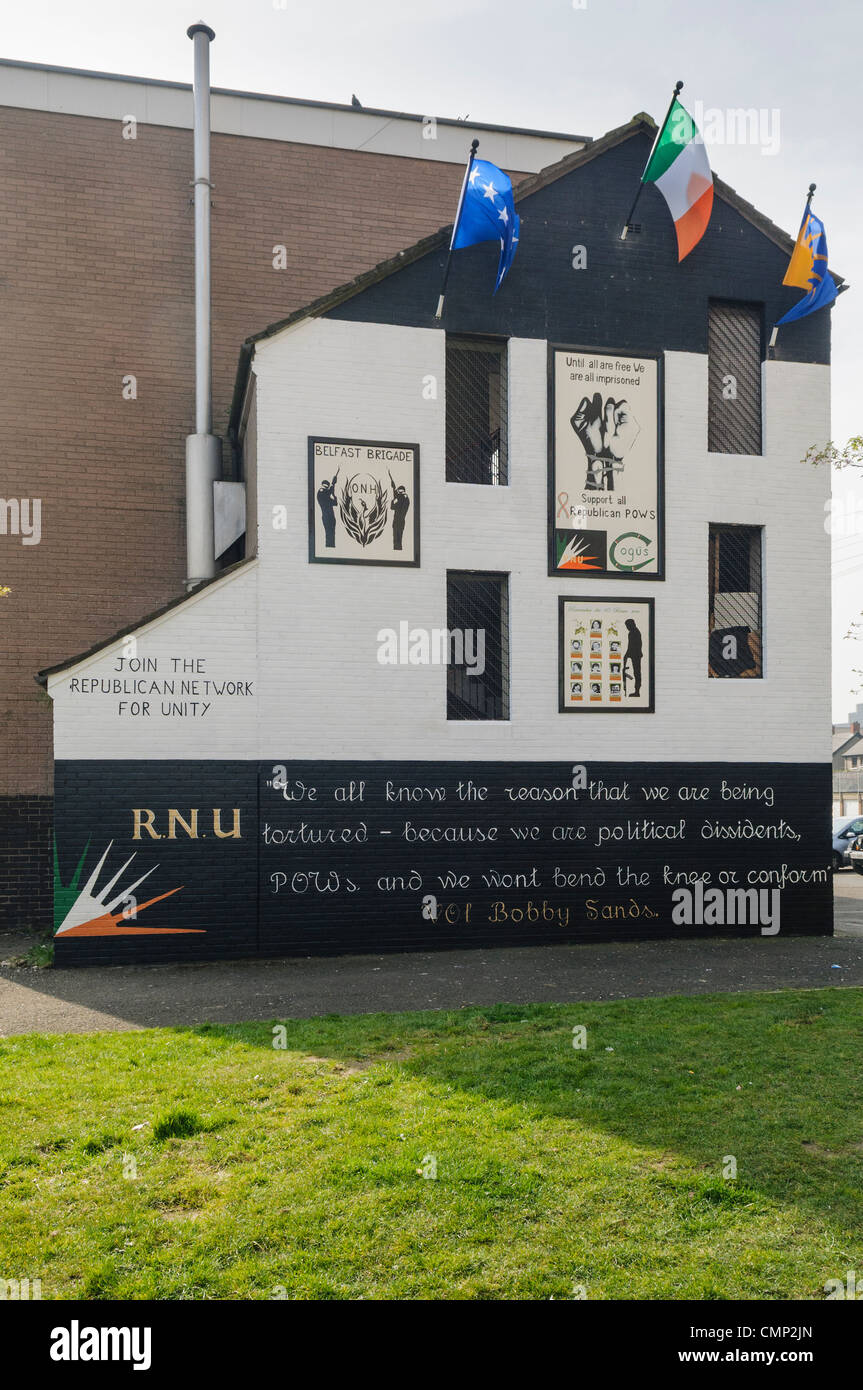 RNU Mural for Republican prisoners in Maghaberry Prison - Stock Image