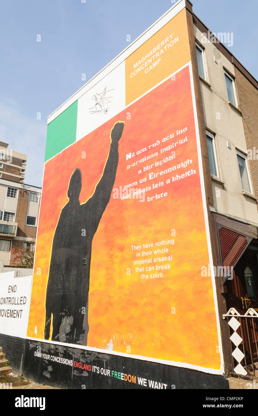 Mural for Irish Republican Political Prisoners in HMP Maghaberry. Stock Photo